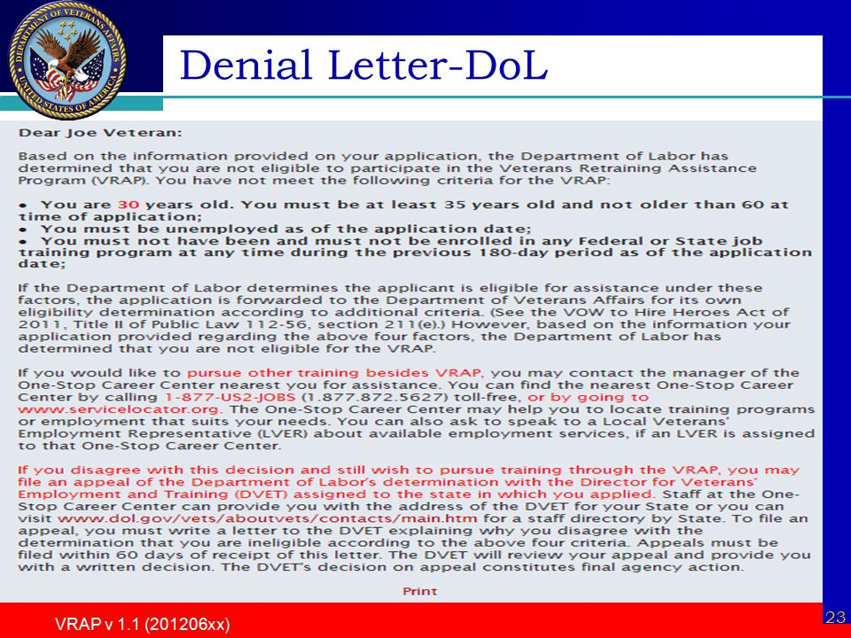 VRAP v 1.1 (201206xx) 23 Denial Letter-DoL