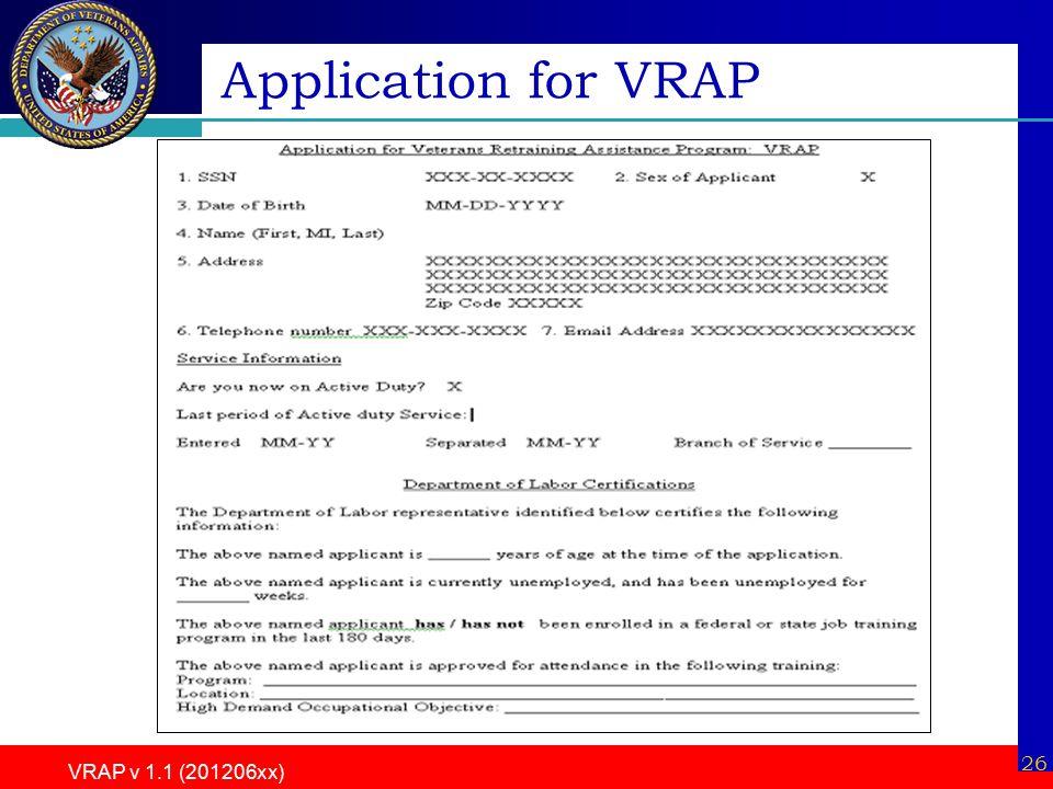 VRAP v 1.1 (201206xx) 26 Application for VRAP