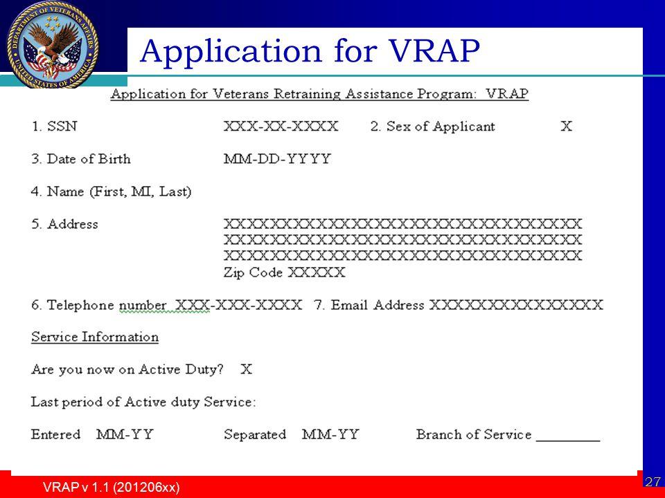 VRAP v 1.1 (201206xx) 27 Application for VRAP