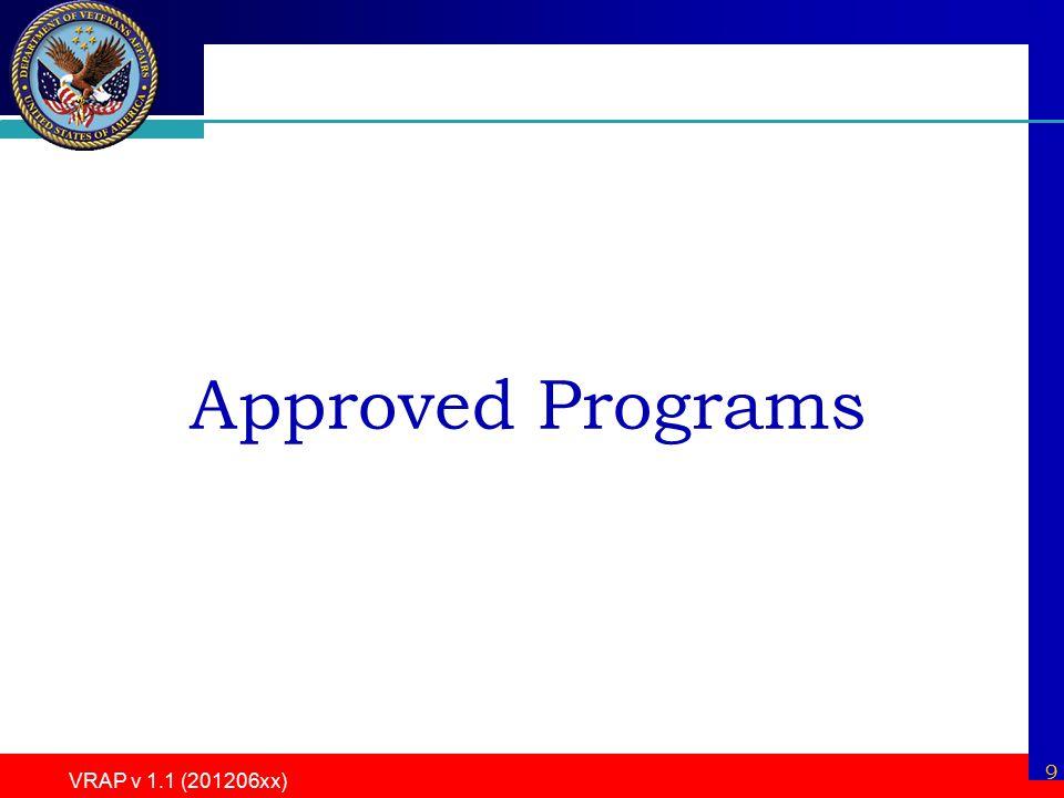 9 VRAP v 1.1 (201206xx) Approved Programs