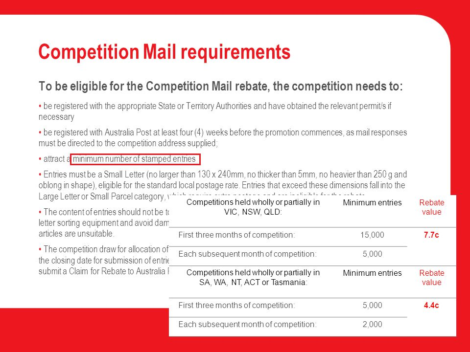 Competition Mail requirements To be eligible for the Competition Mail rebate, the competition needs to: be registered with the appropriate State or Territory Authorities and have obtained the relevant permit/s if necessary be registered with Australia Post at least four (4) weeks before the promotion commences, as mail responses must be directed to the competition address supplied; attract a minimum number of stamped entries Entries must be a Small Letter (no larger than 130 x 240mm, no thicker than 5mm, no heavier than 250 g and oblong in shape), eligible for the standard local postage rate.