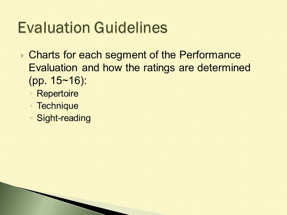  Charts for each segment of the Performance Evaluation and how the ratings are determined (pp.