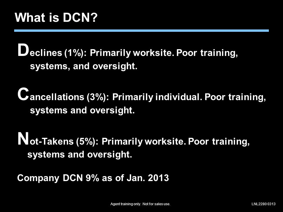 Agent training only. Not for sales use.LNL2280 0313 What is DCN.