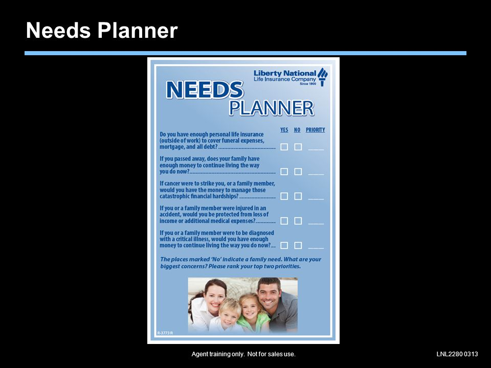 Agent training only. Not for sales use.LNL2280 0313 Needs Planner