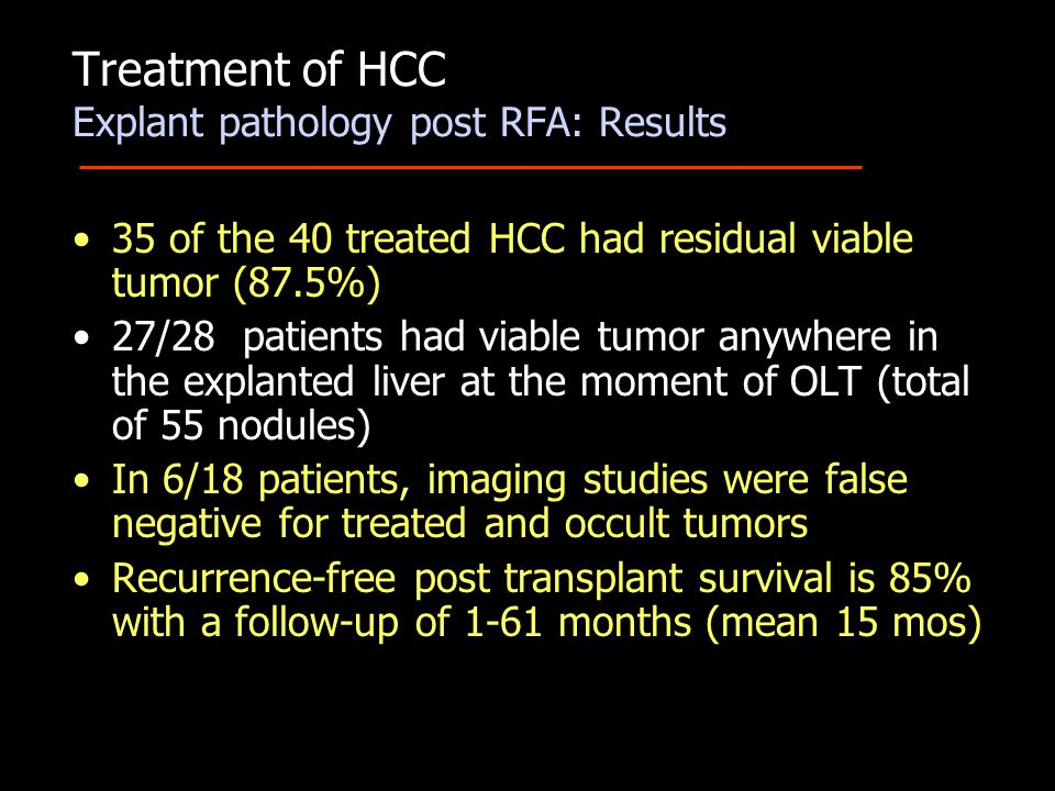 35 of the 40 treated HCC had residual viable tumor (87.5%) 27/28 patients had viable tumor anywhere in the explanted liver at the moment of OLT (total of 55 nodules) In 6/18 patients, imaging studies were false negative for treated and occult tumors Recurrence-free post transplant survival is 85% with a follow-up of 1-61 months (mean 15 mos) Treatment of HCC Explant pathology post RFA: Results