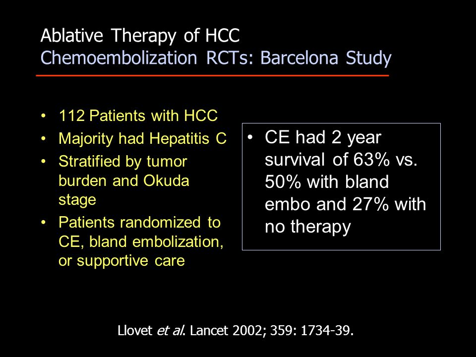 Ablative Therapy of HCC Chemoembolization RCTs: Barcelona Study 112 Patients with HCC Majority had Hepatitis C Stratified by tumor burden and Okuda stage Patients randomized to CE, bland embolization, or supportive care CE had 2 year survival of 63% vs.