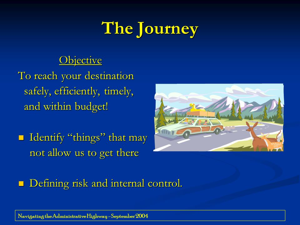 Navigating the Administrative Highway - September 2004 The Journey Objective Objective To reach your destination safely, efficiently, timely, safely,