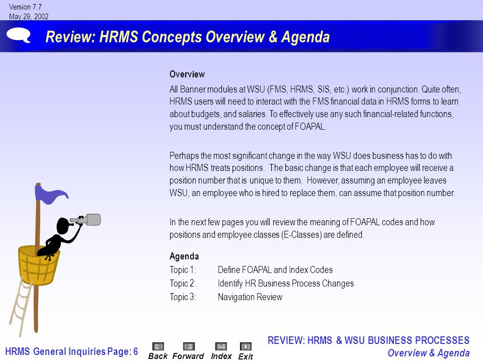 HRMS General InquiriesPage: 67 Version 7.7 May 29, 2002 BackForwardIndex Exit Discussion: Position Budget Inquiry Results NBAPBUD will display the following: A.Position Status: Active Inactive Cancelled Frozen B.Position Type: Single/Pooled (Single = Regular Employees/ Pooled = Graduate Assistants, etc.).