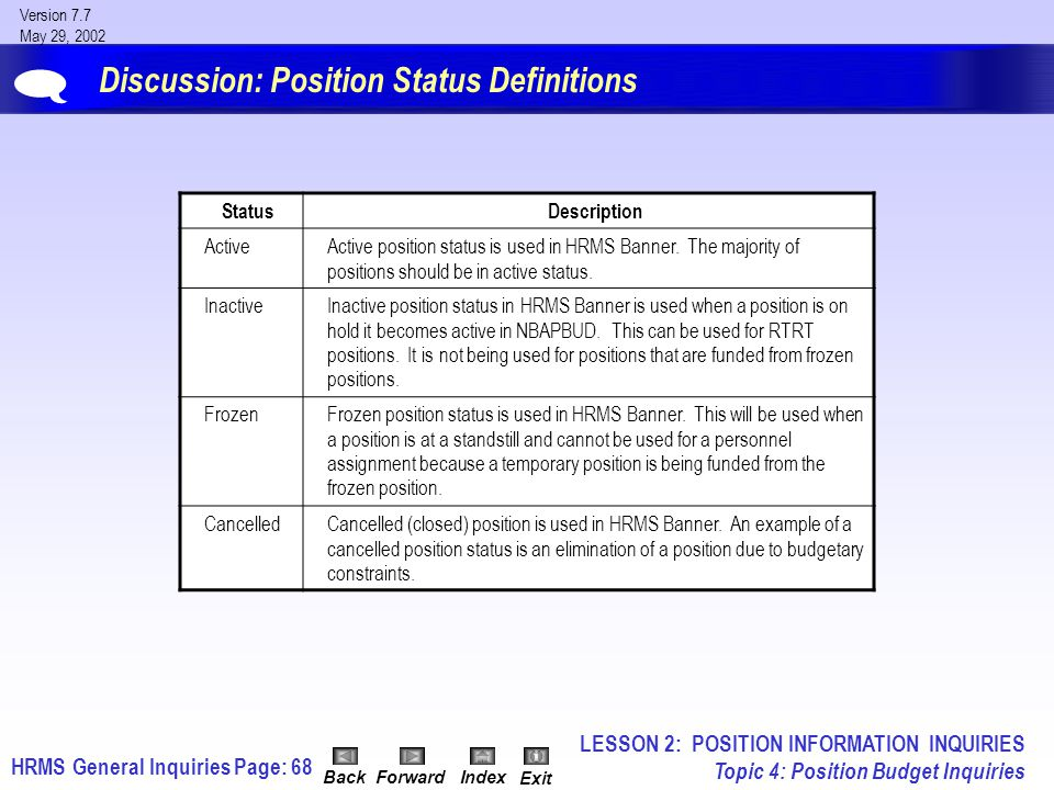 HRMS General InquiriesPage: 68 Version 7.7 May 29, 2002 BackForwardIndex Exit Discussion: Position Status Definitions  StatusDescription ActiveActive position status is used in HRMS Banner.