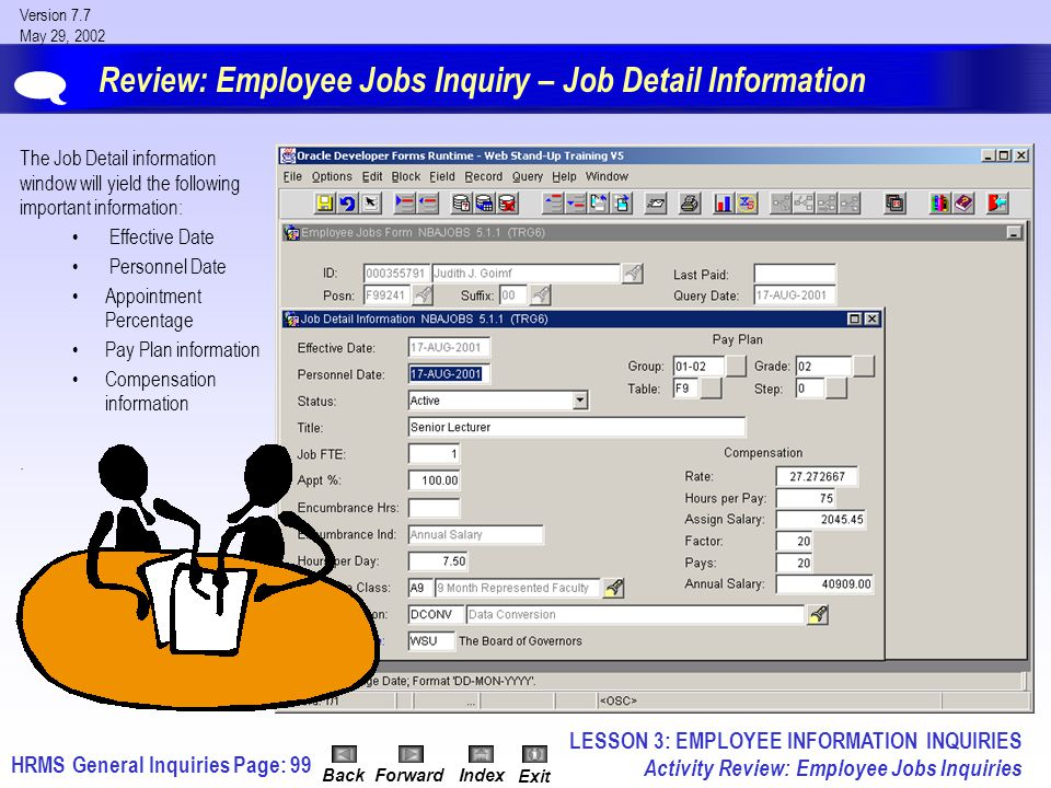 HRMS General InquiriesPage: 99 Version 7.7 May 29, 2002 BackForwardIndex Exit Review: Employee Jobs Inquiry – Job Detail Information The Job Detail information window will yield the following important information: Effective Date Personnel Date Appointment Percentage Pay Plan information Compensation information.