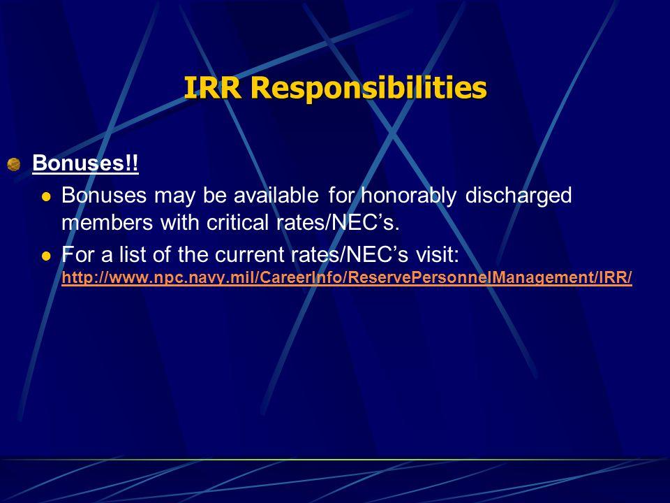 IRR Responsibilities Bonuses!.