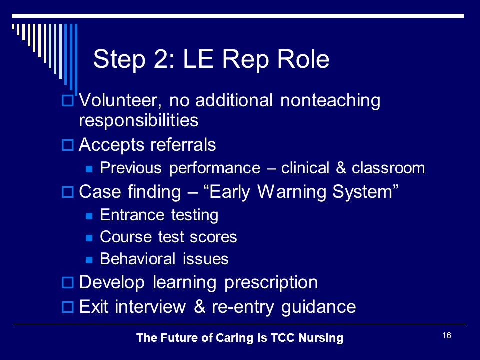 The Future of Caring is TCC Nursing 16 Step 2: LE Rep Role  Volunteer, no additional nonteaching responsibilities  Accepts referrals Previous perfor