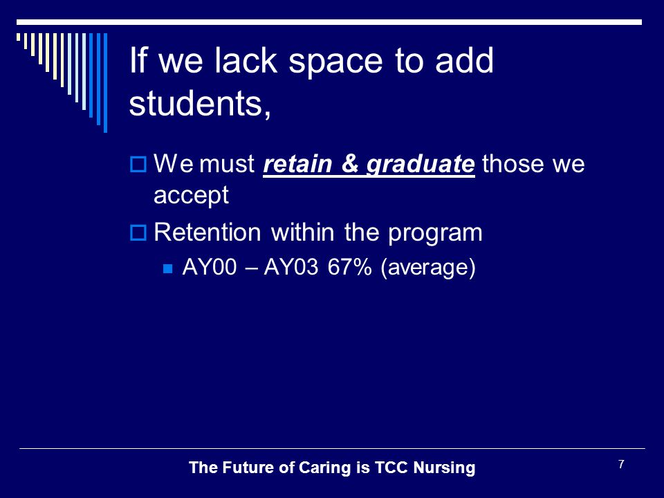 The Future of Caring is TCC Nursing 18 Results - Program  Retention within the program is increasing AY00 – AY03 67% (average) AY 0480% AY 0588%  NCLEX Pass Rate is UP: 88 – 93%