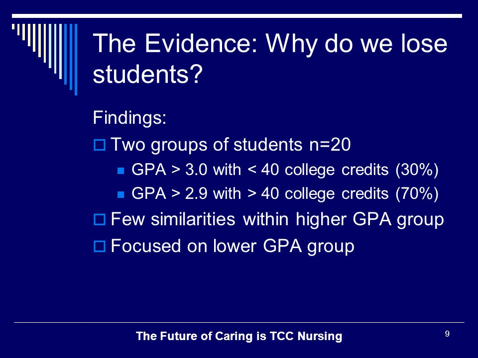The Future of Caring is TCC Nursing 9 The Evidence: Why do we lose students? Findings:  Two groups of students n=20 GPA > 3.0 with < 40 college credi