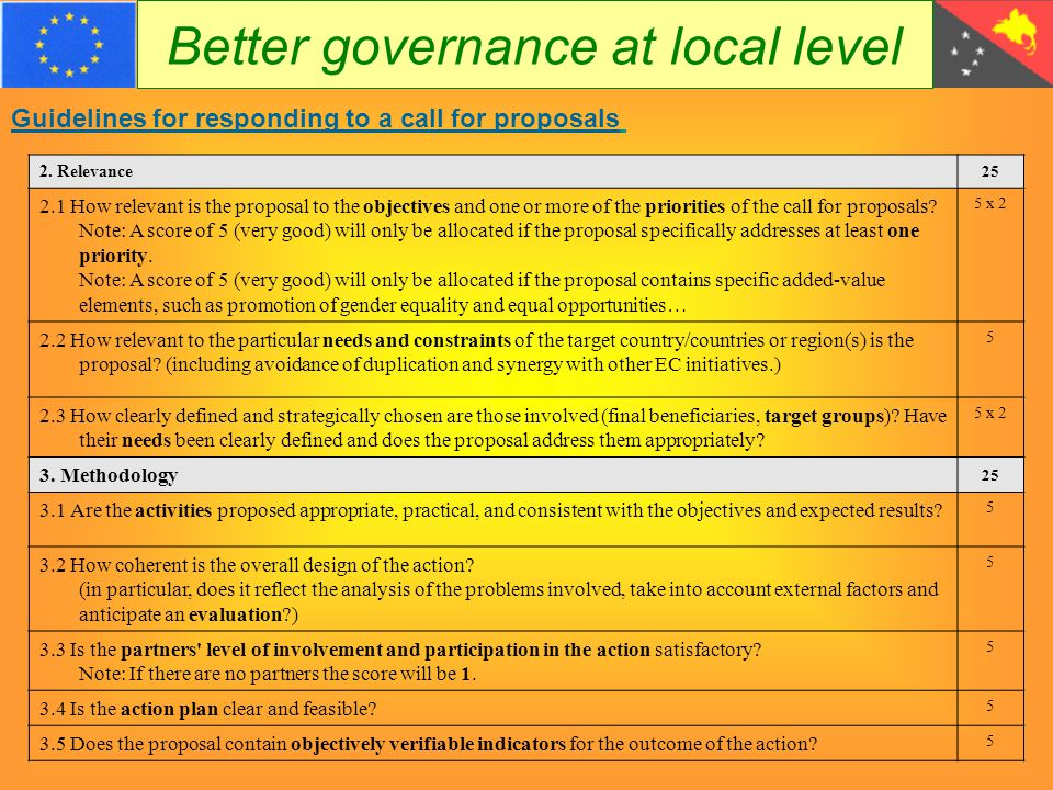 Better governance at local level Guidelines for responding to a call for proposals 2.