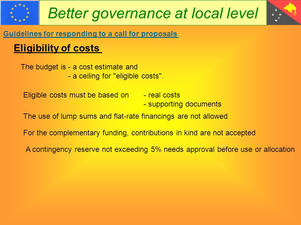 Better governance at local level Guidelines for responding to a call for proposals  Overhead costs  Operating costs of the district administration or LLGs  debts and provisions for losses or debts;  interest owed;  items already financed in another framework;  purchases of land or buildings,;  currency exchange losses;  taxes, including GST The following costs are not eligible :