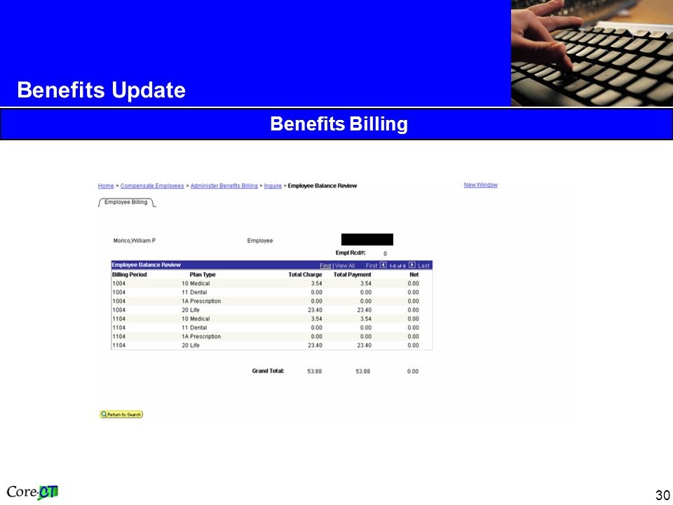 30 Benefits Update Benefits Billing