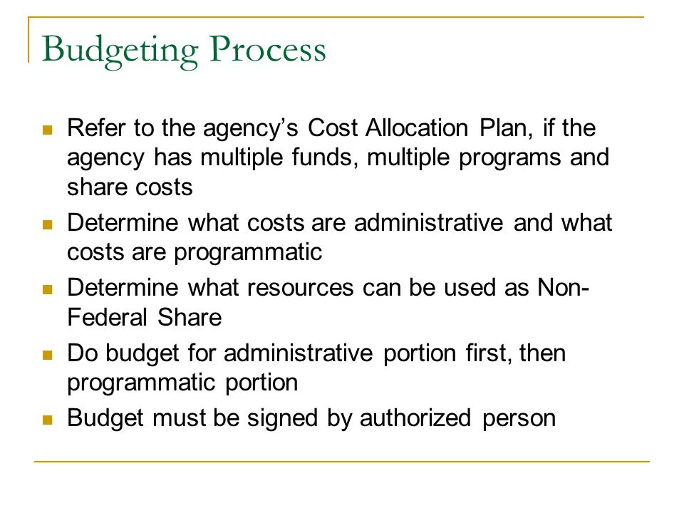 Non-Federal Share & Administrative Cost Limitation Applied to CYS HS agencies If Head Start Cost$1,200,000 Non-Federal Share (1/3 HS) $400,000 Total Cost$1,600,000 Total Admin Cost @ 10% $160,000