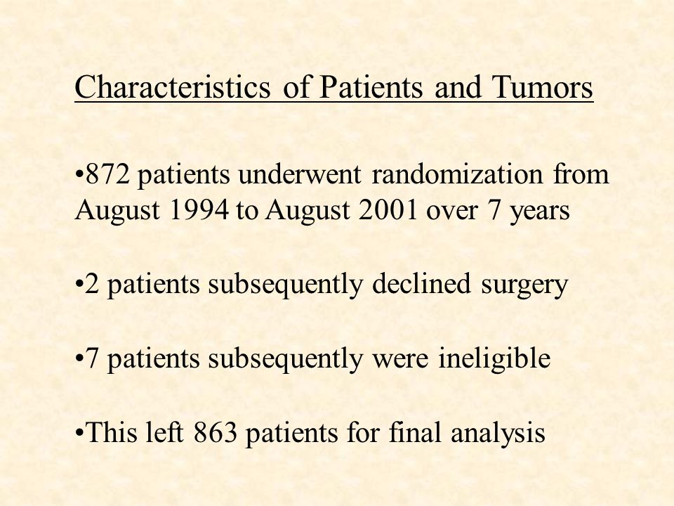 Characteristics of Patients and Tumors 872 patients underwent randomization from August 1994 to August 2001 over 7 years 2 patients subsequently declined surgery 7 patients subsequently were ineligible This left 863 patients for final analysis