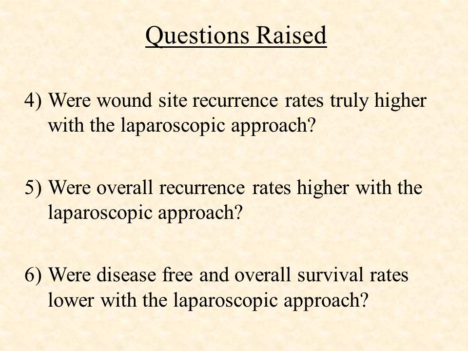 Questions Raised 4)Were wound site recurrence rates truly higher with the laparoscopic approach.