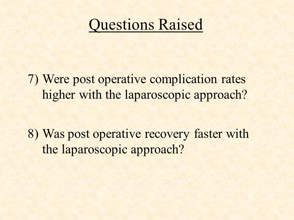 # of patients SURGERY Total Surgery Patients Total patients863 Open colectomy 428 (49.6%) Laparoscopic Colectomy 435 (50.4%) Successful laparoscopic colectomy 345 (79%) Converted to open colectomy 90 (21%)