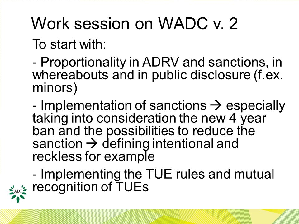 Work session on WADC v.
