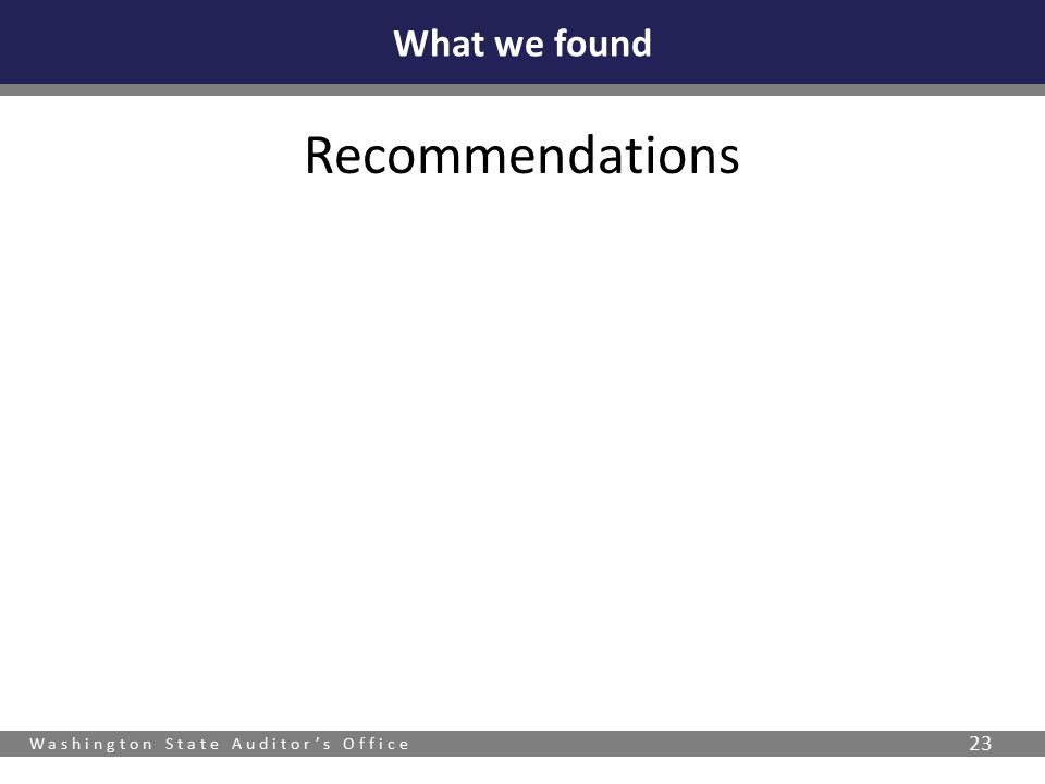 Washington State Auditor's Office 23 Recommendations What we found