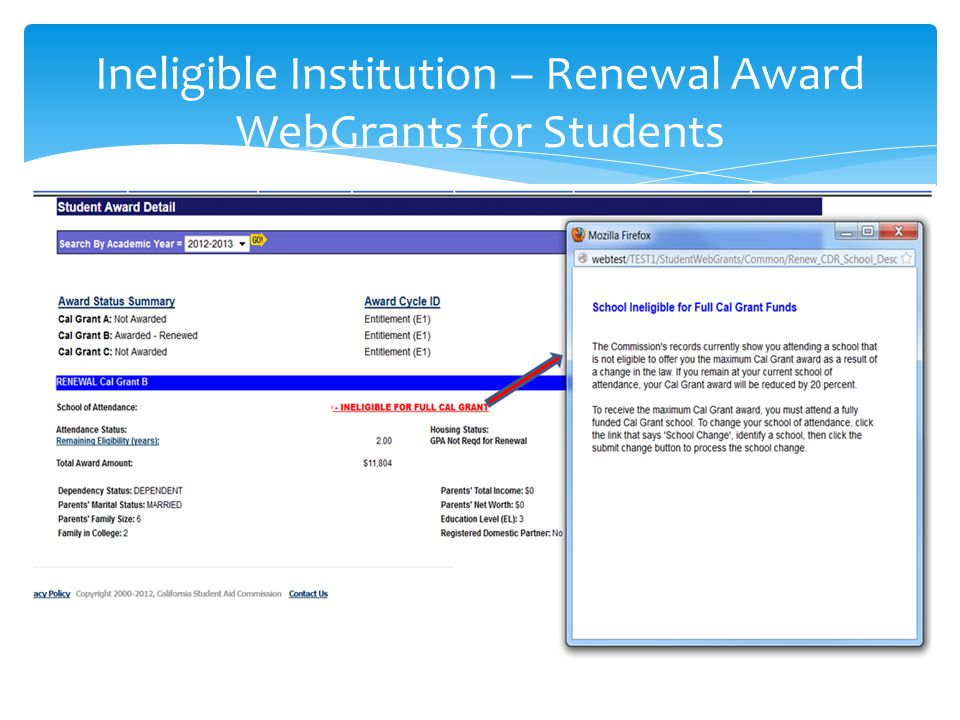 Ineligible Institution – Renewal Award WebGrants for Students