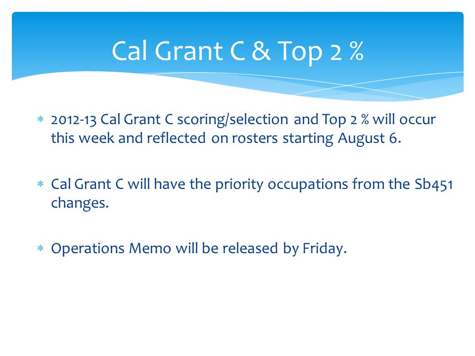  2012-13 Cal Grant C scoring/selection and Top 2 % will occur this week and reflected on rosters starting August 6.