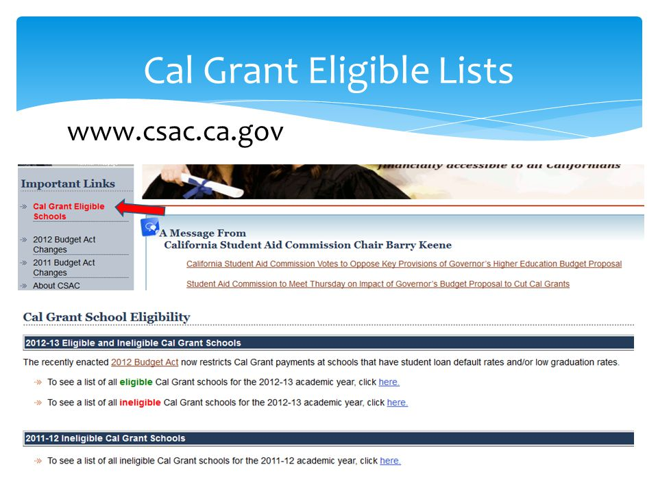 Cal Grant Eligible Lists www.csac.ca.gov