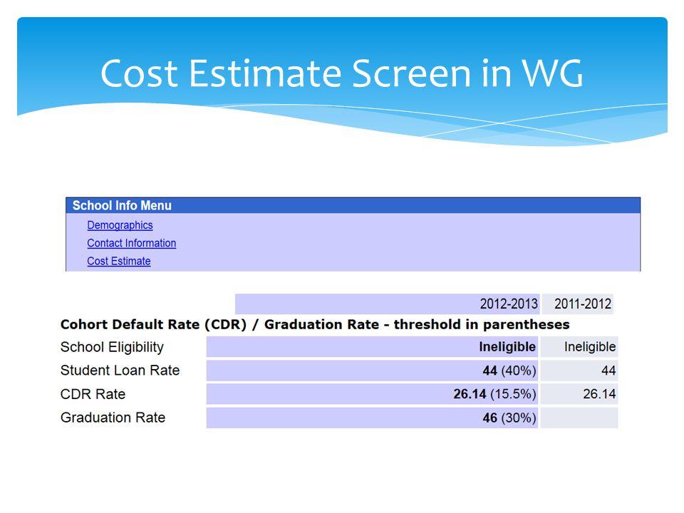 Cost Estimate Screen in WG