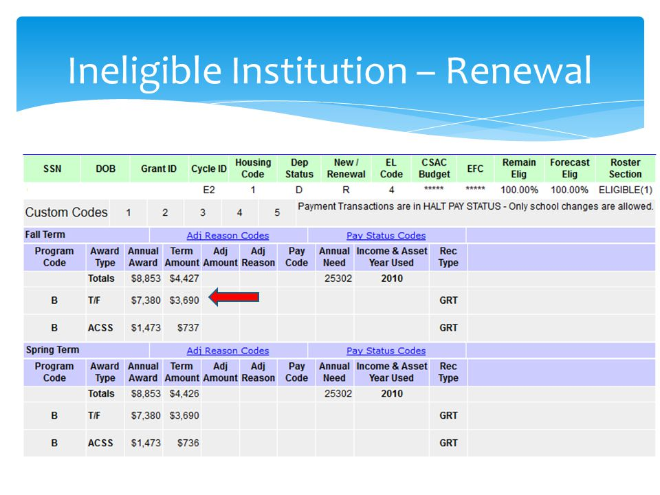 Ineligible Institution – Renewal