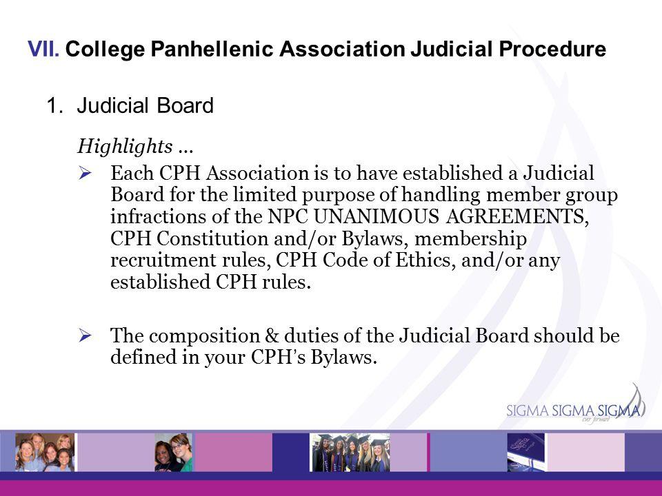 VII.College Panhellenic Association Judicial Procedure 1.