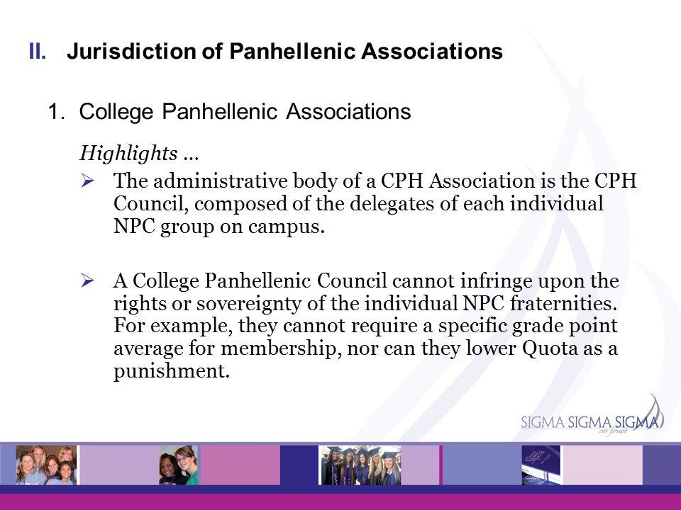 II.Jurisdiction of Panhellenic Associations 1.