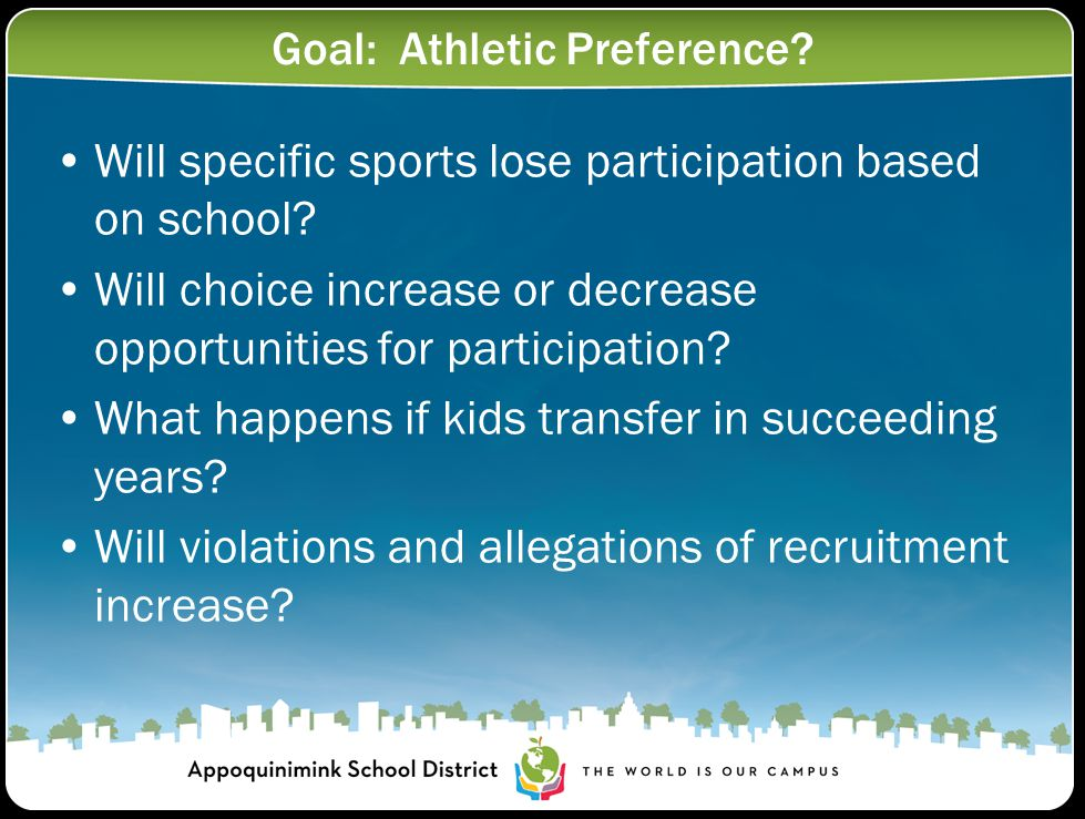 Goal: Athletic Preference. Will specific sports lose participation based on school.