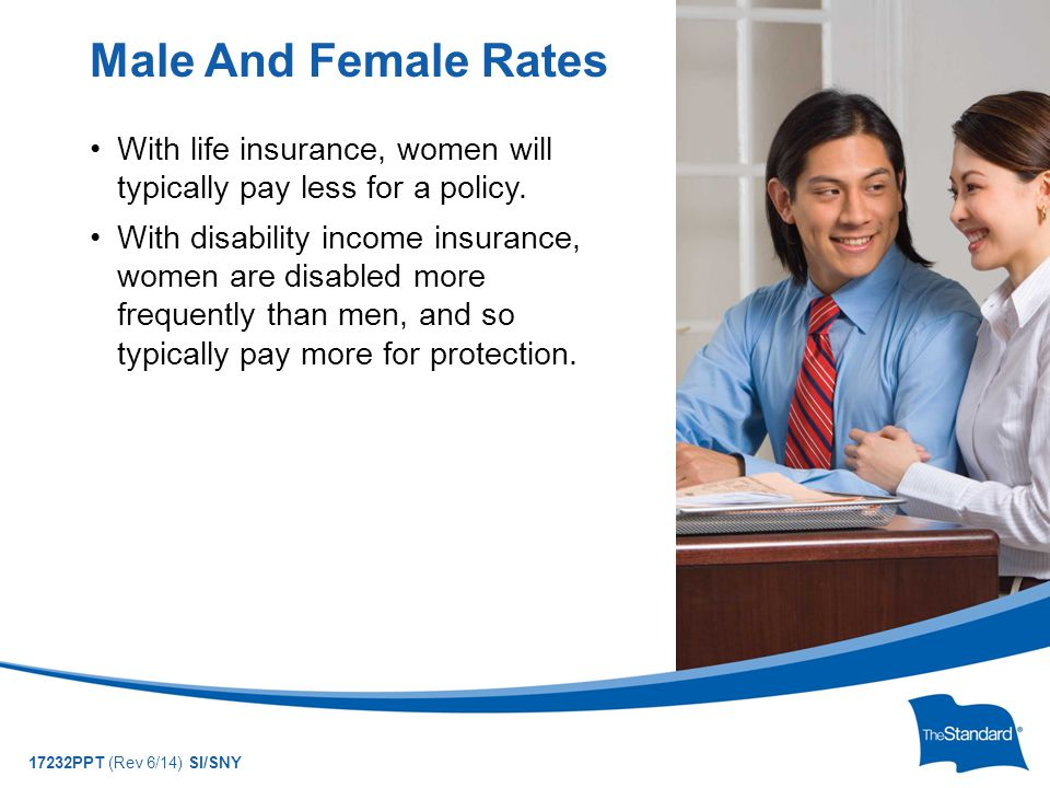 © 2010 Standard Insurance Company 17232PPT (Rev 6/14) SI/SNY With life insurance, women will typically pay less for a policy.