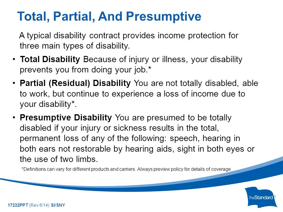 © 2010 Standard Insurance Company 17232PPT (Rev 6/14) SI/SNY A typical disability contract provides income protection for three main types of disability.
