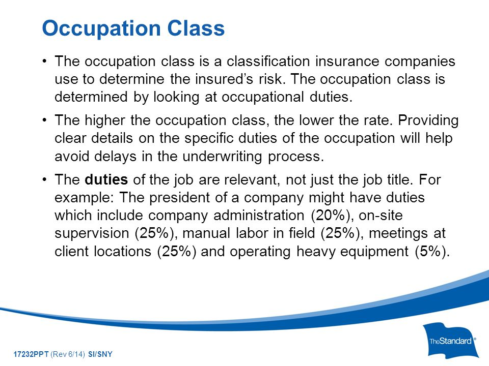 © 2010 Standard Insurance Company 17232PPT (Rev 6/14) SI/SNY The occupation class is a classification insurance companies use to determine the insured's risk.