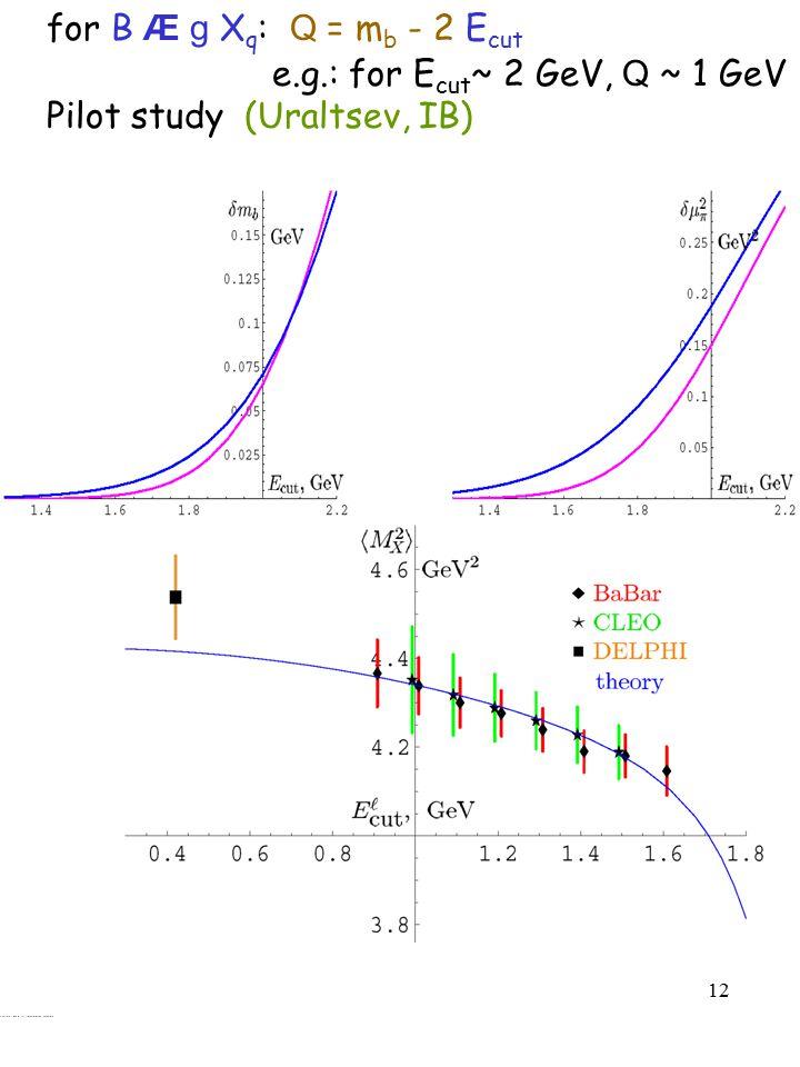 12 for B Æ g X q : Q = m b - 2 E cut e.g.: for E cut ~ 2 GeV, Q ~ 1 GeV Pilot study (Uraltsev, IB)