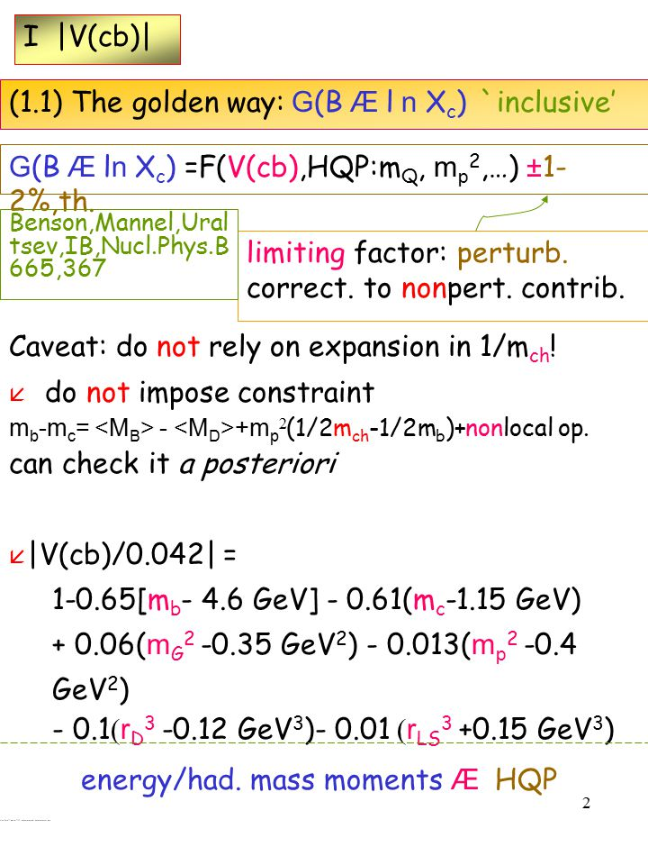 2 I |V(cb)| (1.1) The golden way: G (B Æ l n X c ) `inclusive' G (B Æ l n X c ) =F(V(cb),HQP:m Q, m p 2,…) ± 1- 2%,th.