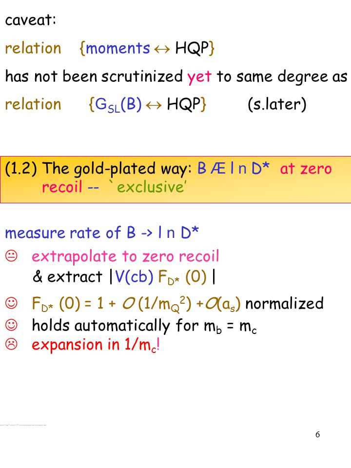 7 0.89±0.08[0.05] Uraltsev etal.:O(1/m Q 2 ) 0.913±0.042 BaBar Book not a consensus F D* (0) = (dubious procedure).