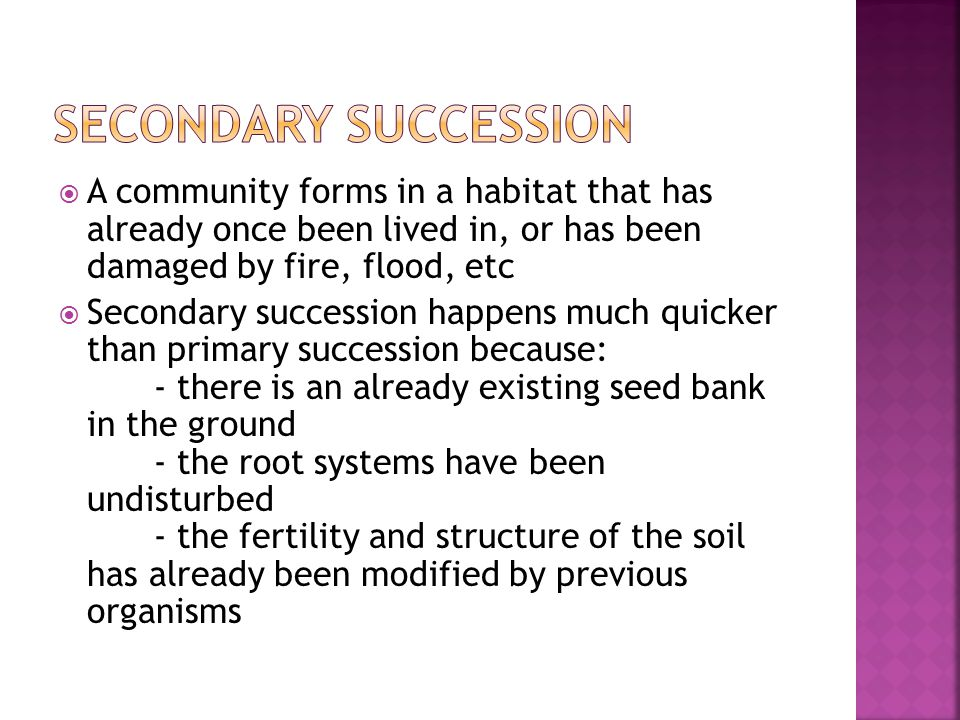  A community forms in a habitat that has already once been lived in, or has been damaged by fire, flood, etc  Secondary succession happens much quicker than primary succession because: - there is an already existing seed bank in the ground - the root systems have been undisturbed - the fertility and structure of the soil has already been modified by previous organisms