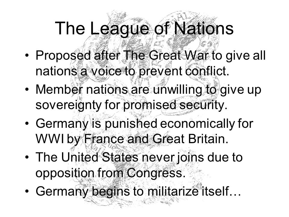 The League of Nations Proposed after The Great War to give all nations a voice to prevent conflict.