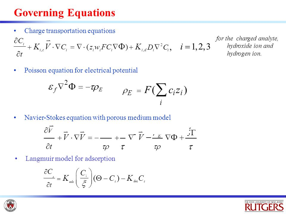 Governing Equations Charge transportation equations for the charged analyte, hydroxide ion and hydrogen ion.