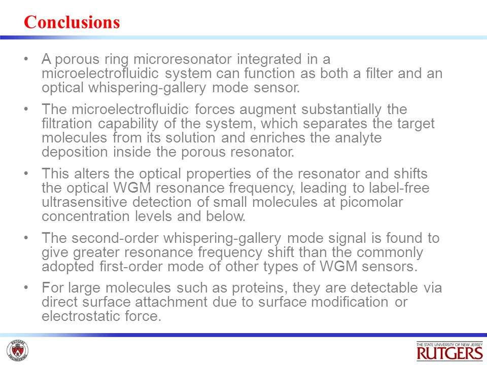 Conclusions A porous ring microresonator integrated in a microelectrofluidic system can function as both a filter and an optical whispering-gallery mo