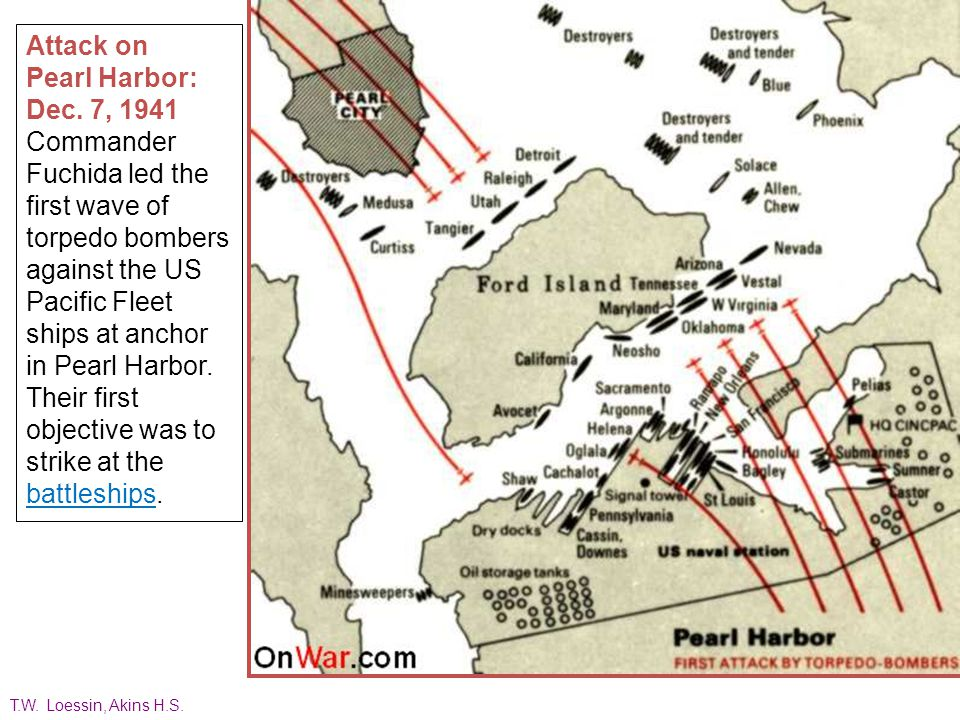 Japanese Approach to Pearl Harbor: Dec. 7, 1941 The Imperial Japanese Navy fleet attacking Pearl Harbor launched a total of 423 aircraft in two waves