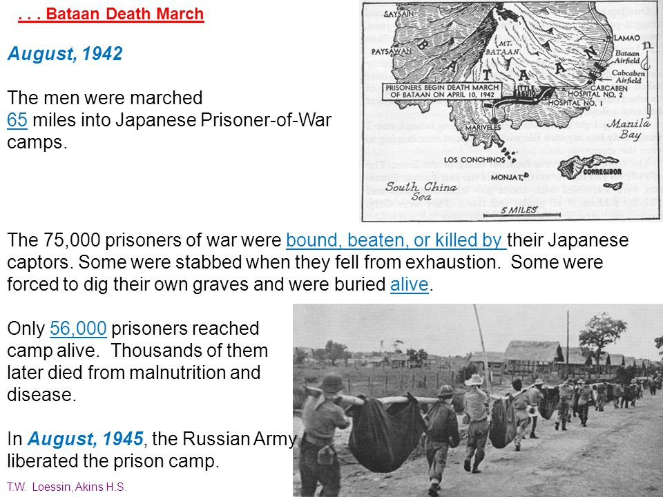 ... Bataan Death March At dawn April 9, 1942, Major General Edward P. King, Jr., surrendered more than 75,000 starving and disease- ridden American so