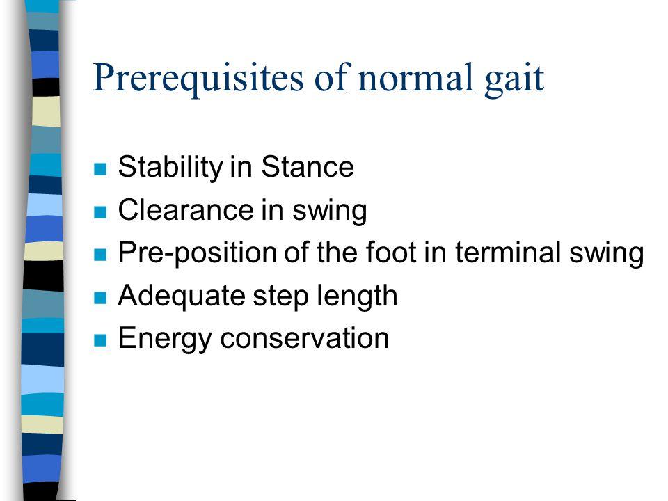 Prerequisites of normal gait n Stability in Stance n Clearance in swing n Pre-position of the foot in terminal swing n Adequate step length n Energy c