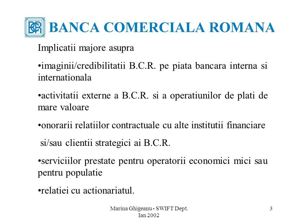 Marina Ghigeanu - SWIFT Dept. Ian 2002 3 Implicatii majore asupra imaginii/credibilitatii B.C.R.