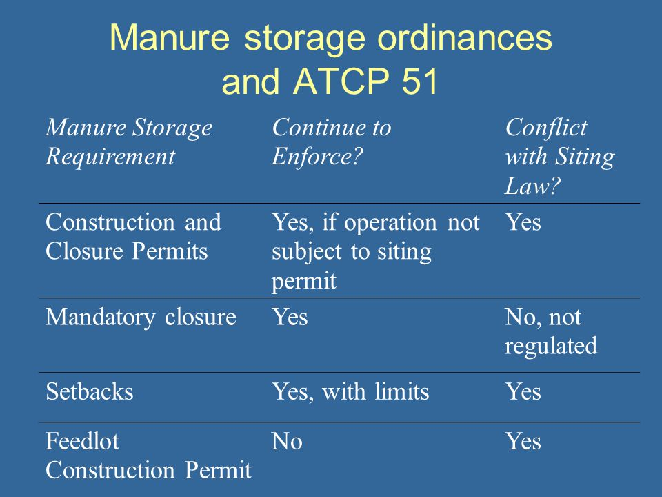Manure storage ordinances and ATCP 51 Manure Storage Requirement Continue to Enforce? Conflict with Siting Law? Construction and Closure Permits Yes,